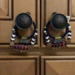 NWT J Crew earrings. Navy blue, red & white